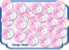 24 Button für Adventskalender Einhorn von Jasuki auf DaWanda.com