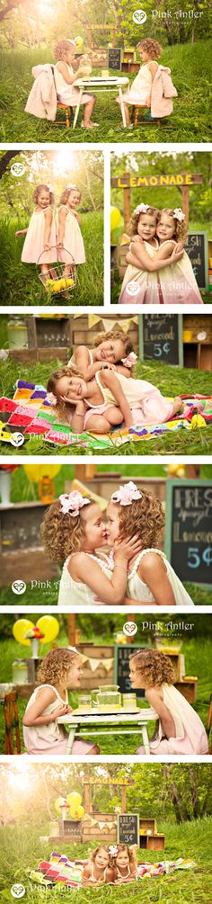 These are the most adorable images of twins in a vintage stylized lemonade stand photo shoot!