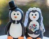 Penguin Wedding Cake Toppers. $30.00, via Etsy.