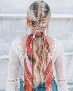 Hairstyles For Sports 52 Gorgeous Braids with Low Ponytail Hairstyles for Best styles of cutest . Box Braids Hairstyles, Scarf Hairstyles, Pretty Hairstyles, Hairstyle Ideas, Wedding Hairstyles, Hair Scarf Styles, Braid Styles, Curly Hair Styles, Silk Hair