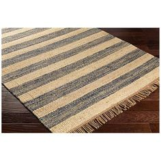 Surya Davidson Navy and Cream Jute Area Rug - #9P610 | Lamps Plus