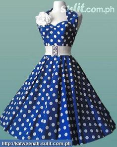 Blue With White Polka Dots Retro Dress