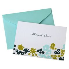 Mara-Mi Floral Thank You Cards - Blue/Green @Target Thank You Notes