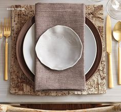 modern table setting - love the gold accents
