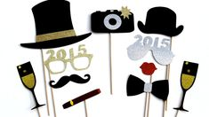 DIY New Years Party Ideas Gold: New Years Eve Photo Booth Props: Rock your DIY party photobooth with these silver and gold glitter new years party props Wedding Photo Booth Props, Party Props, Party Ideas, Diy Party, Diy Ideas, New Year Props, Diy New Years Party, Happy New Year 2015, Beast
