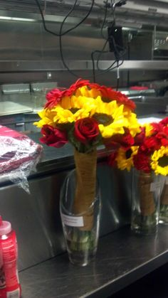 Red and Yellow Wedding  MOH Flowers Sunflowers and Red Roses