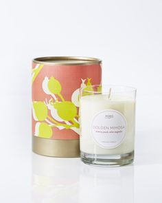 Golden Mimosa Candle design by Kobo Candles