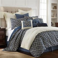 Delectably Yours Monterrey Blue & White Duvet Bed Set by HiEnd Accents #DelectablyYours Bed and Bath Decor