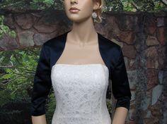 Navy Blue 3/4 sleeve satin wedding bolero jacket shrug. $44.99, via Etsy.