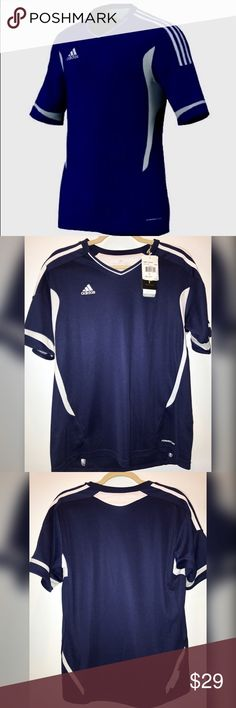 Adidas Women Camp 11 Soccer Jersey Training Navy L Brand new with tags. Size Large. Navy blue with white. Jersey type material with Climacool. Training t-shirt. $55 retail. 10% off bundle discount. I just started selling on posh so follow me for TONS more to come! Everything I sell is brand new, reputable brands. Smoke-free home. Great customer service is my priority! Thanks for looking! Make a reasonable offer or ask any questions! XOXO - G adidas Tops Tees - Short Sleeve