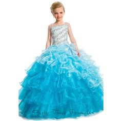 An exquisite ball or pageant gown for your little girl from Party Time Formals. This long organza ball gown with heavily beaded bodice in diagonal pattern. Emb…