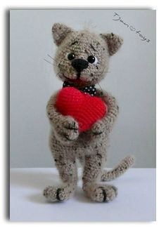 Kitten with Heart Valentine's Day gift OOAK Stuffed Animals Crochet Handmade Soft toy decor Amigurumi Made to order