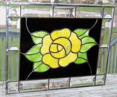 Beveled stained glass panel spring yellow rose stained glass window panel