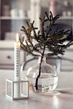 simple christmas- love the branch in a vase! Noel Christmas, Merry Little Christmas, Scandinavian Christmas, Simple Christmas, All Things Christmas, Winter Christmas, Christmas Crafts, Christmas Decorations, Christmas Calendar