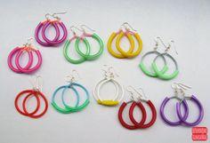 Color Hoop Earrings  Rubber Earring  Choose Your by petiteutile