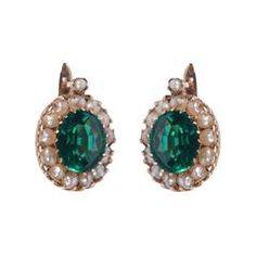 Antique Green Tourmaline Pearl Gold Earrings