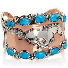 """Chaco Canyon Southwest Turquoise """"Horse"""" Cuff Bracelet"""