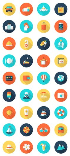 Freebie: Travel and Vacation Icon Set A set of 36 colorful and versatile travel and vacation related icons. The icons have a flat design with a long shadow and they come in several vector formats. App Icon Design, Flat Design Icons, Web Design, Logo Design, Flat Icons, Graphic Design, Design Color, Vector Design, Icon Set
