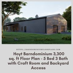 $595. Hoyt 5 Bed – 3 Bath – 3,300 sq. ft. with Craft Room & Backyard Access. We sell semi-custom Barndominium floor plans and provide helpful tips to design and build your home whether it is DIY or you are paying a company. #architecture #barndominiums #home #modernbarn #barnhomefloorplans #beautifulbarn #homefloorplan #barnhomedesign #housedesign #barndominiumfloorplans #floorplan #dreambarn #barnhouse #barndominiumliving #exteriordesign #barndominiumdesign #craftroom #dreambarn #barngoals Metal Barn Homes, Metal Building Homes, Pole Barn Homes, Building A House, Pole Barn House Plans, House Floor Plans, Modern Barn, Modern Farmhouse, Barn House Design