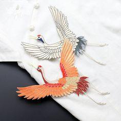 2 style crane bird applique patches vintage embroidered lace fabric patch sewing accessories decoration patch clothes applique #Affiliate