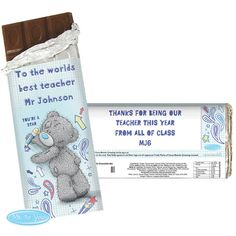 Personalised Me to You Bear Teacher 100g Chocolate Bar - £6.99 - http://www.metoyouonline.com/details.aspx?PID=14977&referrer=fb