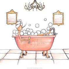 Have you ever been taking a bath, enjoying the water , but as time passes you realize that it's getting kind of warm? You turn the knob and allow more hot water to come into t… Doodles, Bathroom Art, Cartoon Pics, Free Coloring Pages, Pretty Art, Cute Illustration, Naive Art, Brittany, Fashion Art