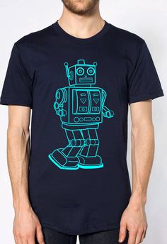 mens vintage robot t shirt- American Apparel navy blue- available in S,M,L,XL,XXL- Wordwide Shipping