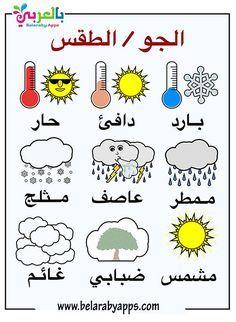 بطاقات تعليم أحوال الطقس للأطفال Pdf فلاش كارد بالعربي نتعلم Apprendre L Arabe Feuilles De Travail Pour Creche Decoration Classe Maternelle