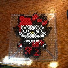 Harley Quinn Hello Kitty perler beads by splattycake