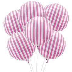 Hot Pink Striped Mylar Balloons - Oriental Trading-- make bandaids to put across Carnival Birthday Parties, Circus Birthday, Circus Party, Birthday Ideas, Carousel Birthday, Carousel Party, Carnival Wedding, Vintage Carnival, Vintage Circus