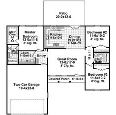 Find your dream country style house plan such as Plan which is a 1200 sq ft, 3 bed, 2 bath home with 2 garage stalls from Monster House Plans. House Plans 3 Bedroom, Ranch House Plans, Cottage House Plans, New House Plans, Small House Plans, House Floor Plans, Cottage Living, Cozy Cottage, Tiny Living