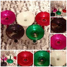 Fuchsia, Iridescent, Red, Black Asteroid and Emerald glitter glasses  £6 each. 2 for £10, 4 for £18 + p&p www.facebook.com/hellobuttonbug