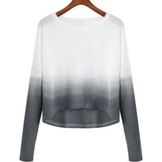 SheIn(sheinside) Grey White Ombre Round Neck Crop Knitwear ($14) ❤ liked on Polyvore featuring tops, sweaters, shirts, blusas, loose long sleeve shirt, white shirt, white crop top, long sleeve sweaters and grey sweater