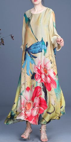 Fitted Yellow Print Long sleeve Silk Maxi Dresses Summer Plus Size Summer Dresses, Long Summer Dresses, Evening Dresses, Bohemian Style Dresses, Fashion Dresses, Maxi Dresses, Yellow Print, Ideias Fashion, Long Sleeve