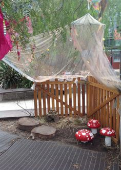 Our fairy area is waiting for tiny fairies and elves to come and live in their house and play under the toadstools! Room 8 children helped create every part of this experience from painting the toadstools, to the tiny flowers on our mosquito net!
