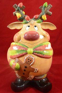 Cookie Jar by Clay Art 2003 Rudolph Christmas Cookie Jars, Holiday Cookies, Christmas Fun, Christmas Ornaments, Antique Cookie Jars, Santa's Village, Piggy Banks, Biscuit Cookies, Cute Cookies
