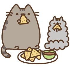 Hungry Cat Sticker by Pusheen for iOS & Android Sweet Drawings, Cute Cartoon Drawings, Cute Kawaii Drawings, Kawaii Doodles, Kawaii Cute Wallpapers, Kawaii Wallpaper, Pusheen Stickers, Pusheen Stormy, Pusheen Love