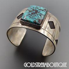Native American Wilson Padilla Navajo Sterling Silver High Grade Turquoise Wide Modernist Cuff Bracelet