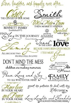 """Vinyl Lettering by Susie--- Lots of vinyl sayings. Love the one that says """"Don't mind the mess - children are making memories"""""""
