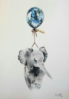 Print of an original illustration from my Far, Far Away series. This piece was initially created with watercolour and ink on Arches by? on Etsy (have others sim 4 artist name) ♥ Art And Illustration, Elephant Illustration, Watercolour Illustration, Elefante Tattoo, Aquarell Tattoos, Elephant Love, Water Color Elephant, Elephant Balloon, Elephant Canvas