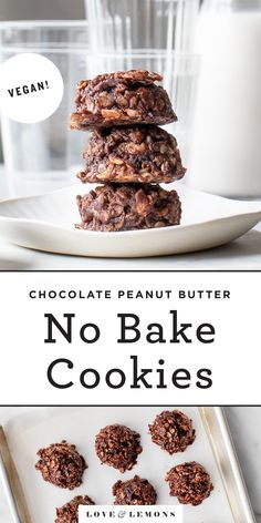 The BEST no bake cookies recipe! Made with 7 pantry ingredients, these no bake cookies are easy, delicious, and filled with addictive chocolate/peanut butter flavor! Pear And Chocolate Cake, Mini Chocolate Chips, Chocolate Flavors, Best No Bake Cookies, Chocolate No Bake Cookies, Cookies Vegan, Healthy Cookies, Peanut Butter No Bake, Creamy Peanut Butter