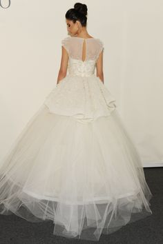 Eve of Miladay - Spring Bridal 2014  TAGS:Embellished, Floor-length, Meringue, Tiered, White, Eve of Milady, Diamante, Jewelled, Organza, Tulle, Princess