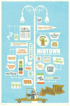 MAP & CITY ILLUSTRATION City Posters - Manhattan