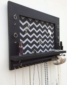 Jewelry Organizer FREE SHIPPING black or white wood by DivaDisplay