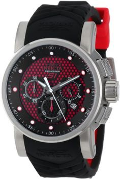Invicta Mens 12137 S1 Rally Samurai Chronograph Red and Black Textured Dial Black and Red Silicone Watch ** For more information, visit image link. (This is an Amazon affiliate link)