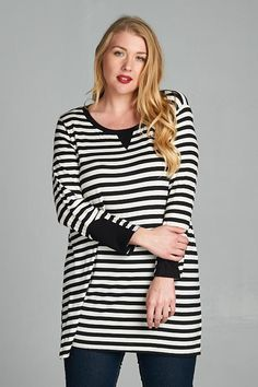 Buttery soft striped plus size top! #plussize #stripes #top