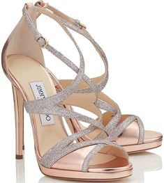Rose gold and sparkly silver strappy Marianne sandals (Jimmy Choo) #GiuseppezanottiHeels
