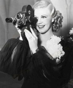 Ginger Rogers takes a spin at being behind the lens for a change, 1930s. #vintage #actress #camera