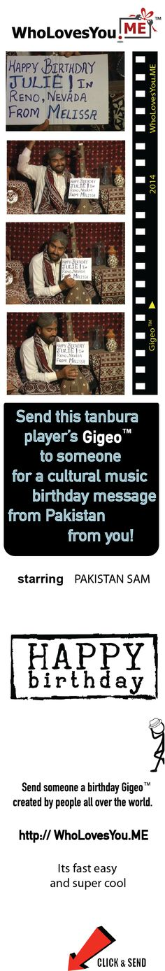 $8 | http://WhoLovesYou.ME | For a cultural birthday greeting, check out Pakistan Sam in this unique Gigeo®. Traditionally dressed and surrounded by colorful tapestry, this engaging professional musician performs an enchanting selection on a tanbura, a type of sitar. Your personalized Happy Birthday message shows behind the strings of the tanbura.    http://WhoLovesYou.ME | #gigeo