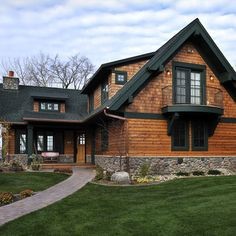 Lake Country Builders traditional exterior - combination of shingle and lap siding with dormers. Log Homes Exterior, Exterior Siding, Exterior House Colors, Exterior Design, Siding Colors, Stone Exterior, Exterior Paint, Home Design, Design Ideas